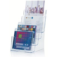 Literature Display Holder, Multi-Tier for Wall or Desktop, 4 x A5 Pockets, Clear