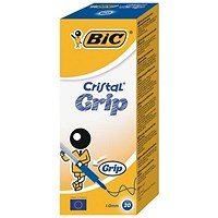 Bic Cristal Grip Ball Pen, Clear Barrel, Blue, Bulk Pack, Pack of 20 x 5