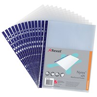 Rexel A4 Nyrex Reinforced Pockets, Blue Strip, Pack of 25