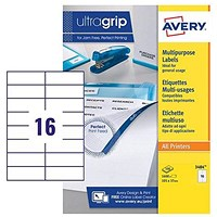 Avery White Multifunctional Labels, 16 per Sheet, 105x37mm, White, 3484, 1600 Labels