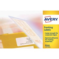 Avery FL01 Franking Labels, 2 per Sheet, 140x38mm, White, 1000 Labels