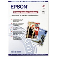 Epson A3 Premium Semi-Gloss Photo Paper, White, 251gsm, Pack of 20