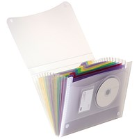 Elba Expanding File, Coloured Polypropylene, 13 Pockets, A4, Clear
