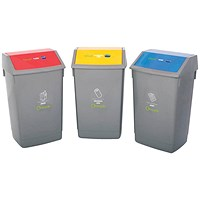 Recycle Bin Kit, 3 x 60 Litre Bins, Colour Coded Flip Top Lids