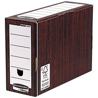 Fellowes Bankers Box Premium Transfer Files, Foolscap, Woodgrain, Pack of 10