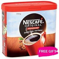 Nescafe Original Instant Coffee Granules / 2 x 750g Tins / Offer Includes FREE Chocolates