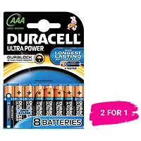 Duracell Ultra Power MX2400 Battery / 1.5V / AAA / Pack of 8 / Buy One Get One FREE