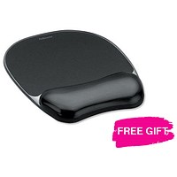 Fellowes Crystal Mouse Mat Pad with Wrist Rest / Gel / Black / FREE Wrist Rest