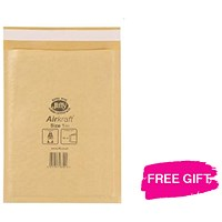 Jiffy Airkraft No.1 Bubble Bag Envelopes / 170x245mm / Gold / Pack of 100 / Free Permanent Markers