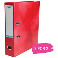 Elba A4 Lever Arch File, 70mm Spine, Red, Buy 2 files Get 1 Free