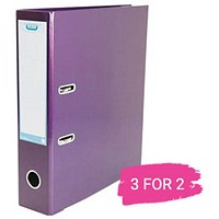 Elba A4 Lever Arch File, 70mm Spine, Metallic Purple, Buy 2 files Get 1 Free