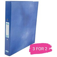 Elba A4 Ring Binder, 2 O-Ring, 25mm Capacity, Metallic Blue, Buy 2 Get 1 Free