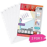 Elba A4 Heavy Duty Punched Pockets, Clear, Pack of 100, Buy 1 Pack Get 1 Free
