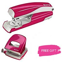 Leitz NeXXt WOW Stapler, 3mm, 30 Sheet Capacity, Pink, Free Hole punch
