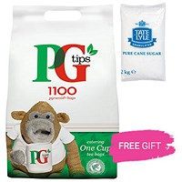 PG Tips 1 Cup Pyramid Tea Bags, 2 x Packs of 1100, Free 2kg Granulated Sugar Bag