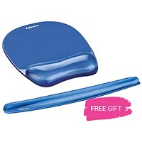 Fellowes Crystal Mouse Mat Pad with Wrist Rest, Gel, Blue, Free Keyboard Wrist Rest