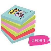 Post-It Super Sticky Notes, 76x76mm, Miami Assorted, Pack of 6 x 90 Notes, Buy 1 Pack Get 1 Free