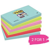 Post-It Super Sticky Notes, 76x127mm, Miami Assorted, Pack of 6 x 90 Notes, Buy 1 Pack Get 1 Free