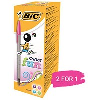 Bic Cristal Large Fashion Ball Pen, Smoked Barrel, Assorted Colours, Pack of 20, Buy 1 Pack Get 1 Free