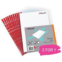 Rexel Nyrex A4 Reinforced Pockets, Red Strip, Side-opening, Pack of 25, Buy 1 Pack Get 1 Free