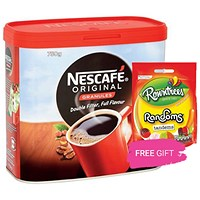 Nescafe Original Instant Coffee Granules, 750g, Buy 2 Tins Get 3 Free Bags of Rowntrees Randoms