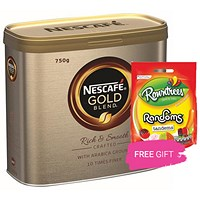 Nescafe Gold Blend Instant Coffee, 750g, Buy 2 Tins Get 3 Free Bags of Rowntrees Randoms