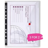 Snopake A4 PolyFiles Ring Binder Wallets, Clear, Pack of 5, Buy 2 Packs Get 1 Free