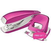 Leitz NeXXt WOW Stapler, 3mm, 30 Sheet Capacity, Pink, Buy this Stapler Get Leitz NeXXt Wow Pink Hole Punch Free