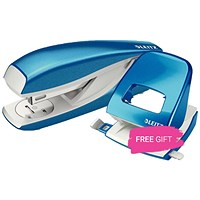 Leitz NeXXt WOW Stapler, 3mm, 30 Sheet Capacity, Blue, Buy this Stapler Get Leitz NeXXt Wow Blue Hole Punch Free