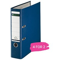 Leitz A4 Lever Arch Files, Plastic, 80mm Spine, Blue, Pack of 10, Buy 2 Packs Get 2 Free