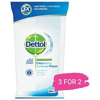 Dettol Antibacterial Surface Cleaning Wipes, Pack of 84, Buy 2 Packs Get 1 Free