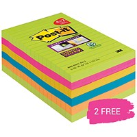 Post-it Super Sticky Notes, 101x152mm, Rainbow, Pack of 4 , Buy a Pack of 4 Get 2 Packs Free