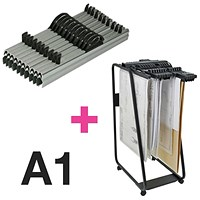 Arnos Hang-A-Plan Large Front Load Trolley and 10 x A1 Binders