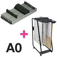Arnos Hang-A-Plan Large Front Load Trolley and 10 x A0 Binders