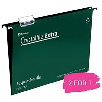 Rexel CrystalFiles Extra Suspension Files, V Base, 15mm Capacity, Foolscap, Green, Pack of 25, Buy 1 Pack Get 1 Free