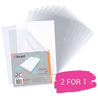 Rexel Nyrex Cut Flush Folders, A4, Clear, Pack of 25, Buy 1 Pack Get 1 Free
