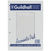 Guildhall Account Pad GP8SZ, A4, 8 Cash Columns, Ruled 54 Feint, 60 Leaf