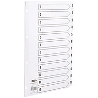 Concord Classic Index Dividers, 1-12, Mylar Tabs, A4, White
