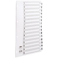 Concord Classic Index Dividers, 1-15, Mylar Tabs, A4, White