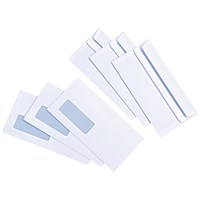 Everyday DL Wallet Envelopes, Window, White, Press Seal, 90gsm, Pack of 1000