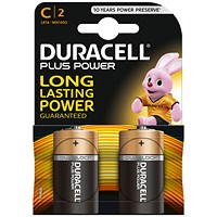Duracell Plus Power Alkaline Battery / 1.5V / C / Pack of 2