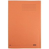Elba Square Cut Folders, 290gsm, Foolscap, Orange, Pack of 100