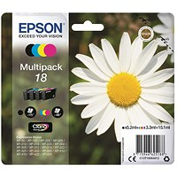 Epson 18 Inkjet Cartridge Multipack - Black, Cyan, Magenta and Yellow (4 Cartridges)