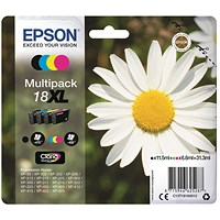 Epson 18XL High Capacity Inkjet Cartridge Multipack - Black, Cyan, Magenta and Yellow (4 Cartridges)