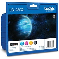 Brother LC1280XLVALBP High Yield Inkjet Cartridge Value Pack - Black, Cyan, Magenta and Yellow (4 Cartridges)