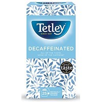 Tetley Decaffeinated Tea Bags, Drawstring in Envelope, Pack of 25