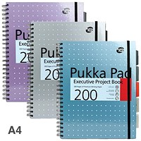 Pukka Pad Project Wirebound Notebook, A4, Ruled & Perforated, 200 Pages, Pack of 3