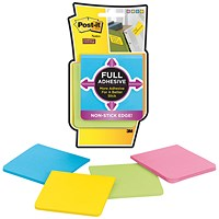 Post-it Super Sticky Full Adhesive Notes, 76x76mm, Assorted, Pack of 4 x 25 Notes