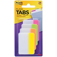 Post-it Strong Flat Index Filing Tabs, 51x38mm, Six Each of 4 Colours, Assorted, Pack of 24