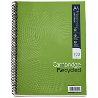 Cambridge EveryDay Recycled Wirebound Notebook, Ruled, A4, 100 Pages, Pack of 5